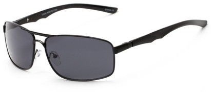 Angle of Ecuador #3640 in Black Frame with Smoke Lenses, Women's and Men's Aviator Sunglasses