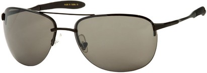 Angle of SW Large Rimless Aviator Style #49 in Matte Black Frame with Grey Lenses, Women's and Men's