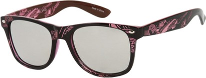 Angle of SW Mirrored Tribal Style #526 in Black/Dark Pink Frame, Women's and Men's