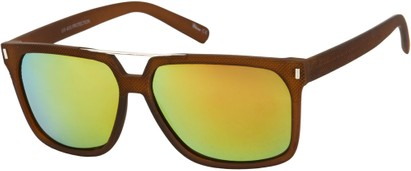 Angle of North Shore #276 in Brown Frame with Yellow Mirrored Lenses, Women's and Men's Retro Square Sunglasses