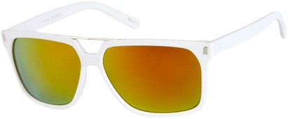 Angle of North Shore #276 in White Frame with Orange Mirrored Lenses, Women's and Men's Retro Square Sunglasses