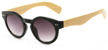 Angle of Ventura #3754 in Black/Tan Frame with Grey Lenses, Women's Round Sunglasses