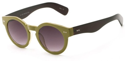 Angle of Ventura #3754 in Green/Black Frame with Grey Lenses, Women's Round Sunglasses