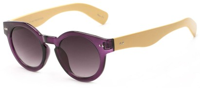 Angle of Ventura #3754 in Purple/Tan Fame with Grey Lenses, Women's Round Sunglasses