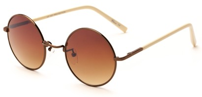 Angle of Java #3761 in Brown Frame with Amber Gradient Lenses, Women's Round Sunglasses