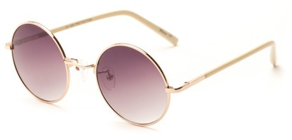 Angle of Java #3761 in Gold Frame with Smoke Gradient Lenses, Women's Round Sunglasses