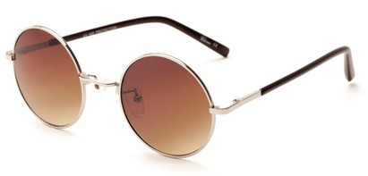 Angle of Java #3761 in Sillver Frame with Amber Gradient Lenses, Women's Round Sunglasses