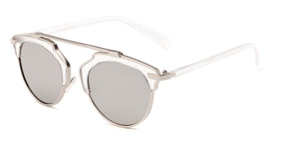 Angle of Tonto #9502 in Clear/Silver Frame with Silver Mirrored Lenses, Women's and Men's Round Sunglasses