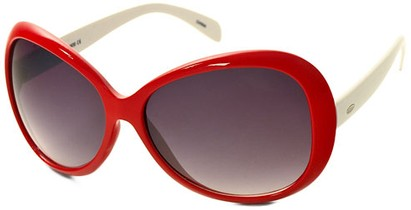 Angle of SW Oversized Style #1701 in Red and White Frame, Women's and Men's