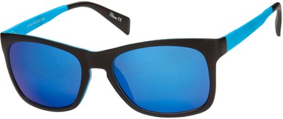 Angle of Nomad #7590 in Black/Blue Frame with Blue Revo Mirrored Lenses, Women's and Men's Retro Square Sunglasses