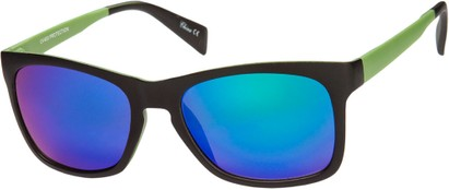 Angle of Nomad #7590 in Black/Green Frame with Multi Revo Mirrored Lenses, Women's and Men's Retro Square Sunglasses