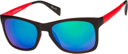Angle of Nomad #7590 in Black/Red Frame with Multi Revo Mirrored Lenses, Women's and Men's Retro Square Sunglasses