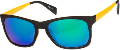 Angle of Nomad #7590 in Black/Yellow Frame with Multi Revo Mirrored Lenses, Women's and Men's Retro Square Sunglasses