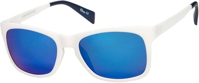 Angle of Nomad #7590 in White/Navy Frame with Blue Revo Mirrored, Women's and Men's Retro Square Sunglasses
