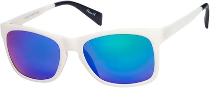 Angle of Nomad #7590 in White/Navy Frame with Multi Revo Mirrored Lenses, Women's and Men's Retro Square Sunglasses