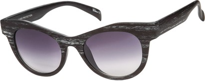 Angle of SW Wood-Look Cat Eye Style #552 in Black Frame with Smoke Lenses, Women's and Men's