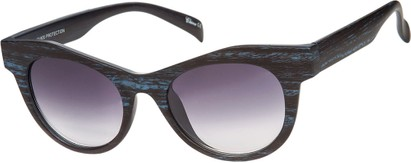 Angle of SW Wood-Look Cat Eye Style #552 in Blue Frame with Smoke Lenses, Women's and Men's