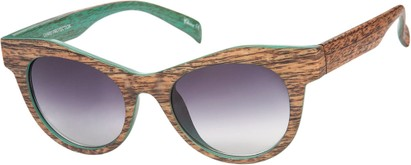 Angle of SW Wood-Look Cat Eye Style #552 in Brown Frame with Smoke Lenses, Women's and Men's