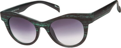 Angle of SW Wood-Look Cat Eye Style #552 in Green Frame with Smoke Lenses, Women's and Men's