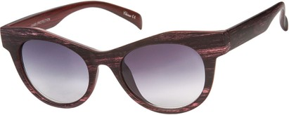 Angle of SW Wood-Look Cat Eye Style #552 in Red Frame with Smoke Lenses, Women's and Men's