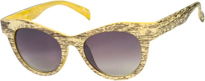 Angle of SW Wood-Look Cat Eye Style #552 in Yellow Frame with Amber Lenses, Women's and Men's