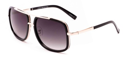 Angle of Camber #3794 in Black/Gold Frame with Grey Lenses, Women's and Men's Aviator Sunglasses