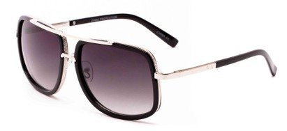 Angle of Camber #3794 in Glossy Black/Silver Frame with Grey Lenses, Women's and Men's Aviator Sunglasses