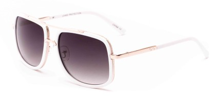 Angle of Camber #3794 in White/Gold Frame with Grey Lenses, Women's and Men's Aviator Sunglasses