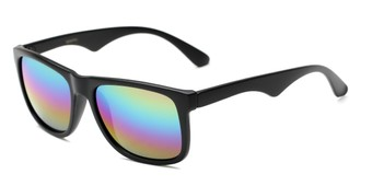 Angle of Pierce #3809 in Matte Black Frame with Rainbow Mirrored Lenses, Women's and Men's Retro Square Sunglasses