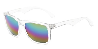 Angle of Pierce #3809 in Glossy Clear Frame with Rainbow Mirrored Lenses, Women's and Men's Retro Square Sunglasses