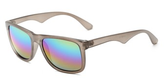 Angle of Pierce #3809 in Matte Grey Frame with Rainbow Mirrored Lenses, Women's and Men's Retro Square Sunglasses
