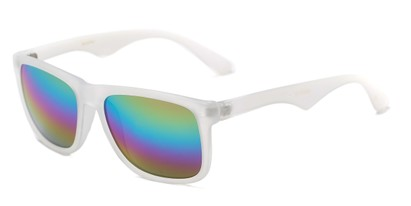 Angle of Pierce #3809 in Matte Clear Frame with Rainbow Mirrored Lenses, Women's and Men's Retro Square Sunglasses