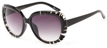Angle of Calaveras #3817 in Black/Clear Frame with Smoke Lenses, Women's Round Sunglasses