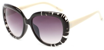 Angle of Calaveras #3817 in Black/White Frame with Smoke Lenses, Women's Round Sunglasses