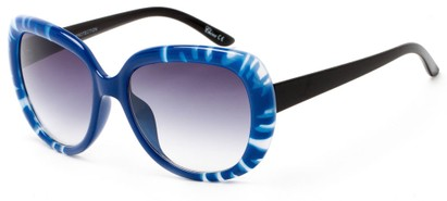 Angle of Calaveras #3817 in Blue/Black Frame with Smoke Lenses, Women's Round Sunglasses