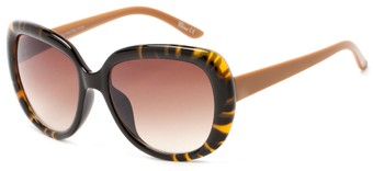 Angle of Calaveras #3817 in Tortoise/Brown Frame with Amber Lenses, Women's Round Sunglasses