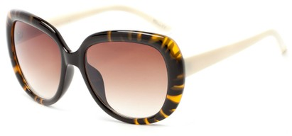 Angle of Calaveras #3817 in Tortoise/Cream Frame with Amber Lenses, Women's Round Sunglasses