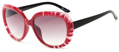 Angle of Calaveras #3817 in Red/Black Frame with Rose Lenses, Women's Round Sunglasses