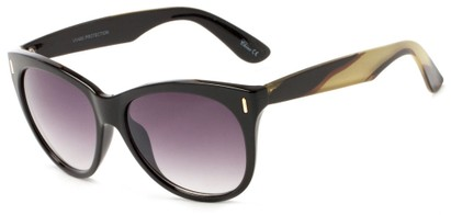 Angle of Teton #3820 in Black/Yellow Frame with Smoke Lenses, Women's Cat Eye Sunglasses