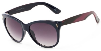 Angle of Teton #3820 in Blue/Pink Frame with Smoke Lenses, Women's Cat Eye Sunglasses