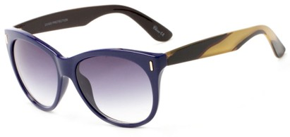 Angle of Teton #3820 in Blue/Yellow Frame with Smoke Lenses, Women's Cat Eye Sunglasses