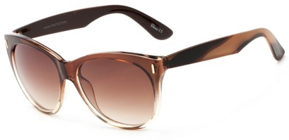 Angle of Teton #3820 in Brown/Clear Frame with Amber Lenses, Women's Cat Eye Sunglasses