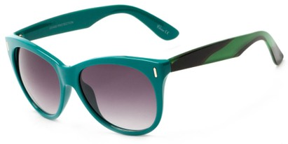 Angle of Teton #3820 in Teal/Green Frame with Smoke Lenses, Women's Cat Eye Sunglasses