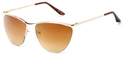 Angle of Timpson #3837 in Gold Frame with Amber Lenses, Women's and Men's Cat Eye Sunglasses