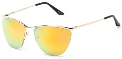 Angle of Timpson #3837 in Gold Frame with Yellow Mirrored Lenses, Women's and Men's Cat Eye Sunglasses