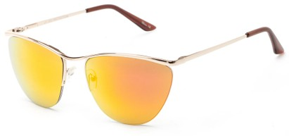 Angle of Timpson #3837 in Gold Frame with Red/Orange Mirrored Lenses, Women's and Men's Cat Eye Sunglasses