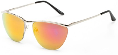 Angle of Timpson #3837 in Silver Frame with Red/Orange Mirrored Lenses, Women's and Men's Cat Eye Sunglasses