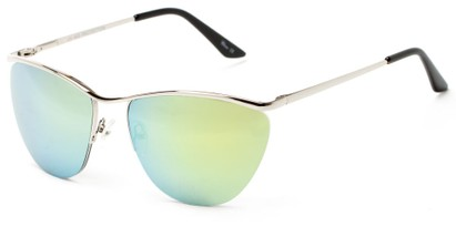 Angle of Timpson #3837 in Silver Frame with Yellow/Blue Mirrored Lenses, Women's and Men's Cat Eye Sunglasses