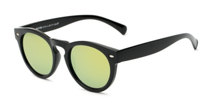 Angle of Bayview #3847 in Glossy Black Frame with Yellow/Green Mirrored Lenses, Women's and Men's Round Sunglasses