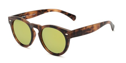 Angle of Bayview #3847 in Matte Tortoise Frame with Yellow/Green Mirrored Lenses, Women's and Men's Round Sunglasses